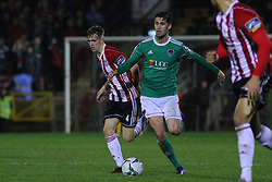 Shane Griffin, Cork City with Ciaron Harkin, Derry City.<br /> <br /> Cork City v Derry City / SSE Airtricity Premier Division / 1.3.19 /  Turner's Cross, Cork / <br /> <br /> Copyright Steve Alfred/photos.extratime.ie/pitchsidephoto.com 2019