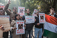 29th Dec. 2012. A group of protesters demonstrating in Jantar Mantar, New Delhi, hold signs stating that rapists should be hanged. Earlier that day news broke of the death of a victim of gang-rape.