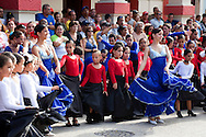 Flamenco dancer parade at Fiesta de la Cultura de Iberoamerica in Holguin, Cuba.