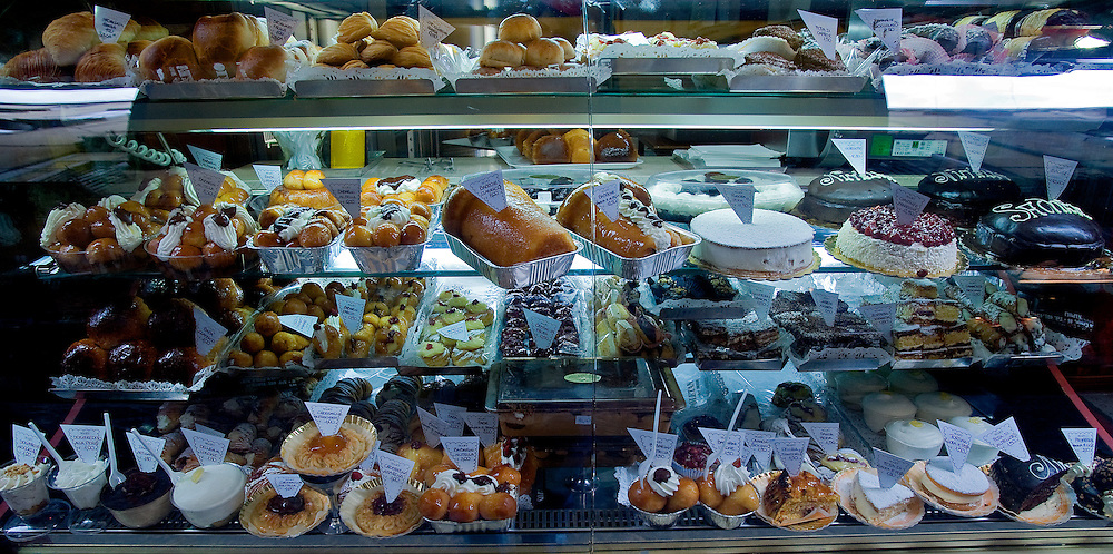A display case of pastries in a shop in the Spaccanapoli shopping district of Naples.
