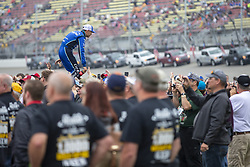 June 10, 2018 - Brooklyn, Michigan, United States of America - Kyle Larson (42) waits for the start of the FireKeepers Casino 400 during a weather delay at Michigan International Speedway in Brooklyn, Michigan. (Credit Image: © Stephen A. Arce/ASP via ZUMA Wire)