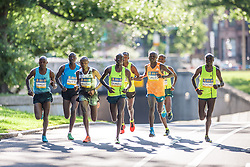 Boston Athletic Association 10K road race: lead pack of men, all Kenyan, led by Geoffrey Mutai and Stephen Sambu