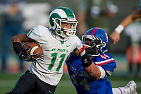 Folsom Bulldogs Justin Viega (44), tackles St. Marys Rams Dumaurier Cotton (11), during the second quarter as the Folsom Bulldogs play the St. Mary's Rams in the Sac-Joaquin Section Division I championship game at Hornet Stadium at Sacramento State, Saturday Dec 2, 2017. <br /> photo by Brian Baer