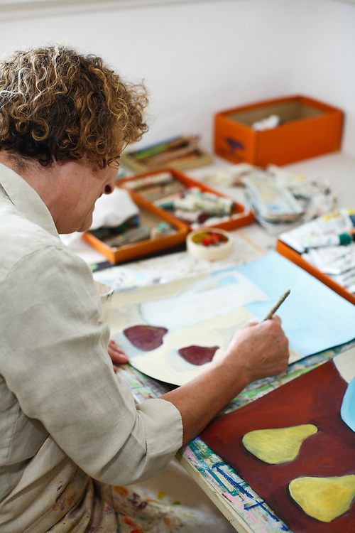 Artist Kate Loveday at work in her studio, Site08