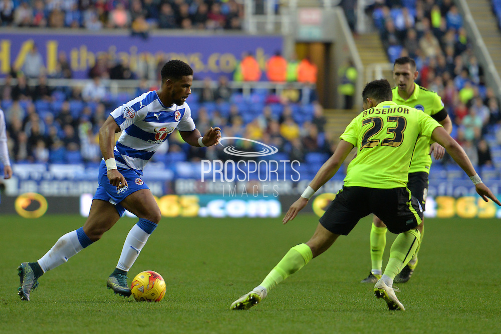 Reading's Garath McCleary tries to get past the Brighton and Hove Albion defence during the Sky Bet Championship match between Reading and Brighton and Hove Albion at the Madejski Stadium, Reading, England on 31 October 2015. Photo by Mark Davies.