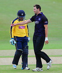 Will Smith of Hampshire is out for LBW bowled by James Fuller of Gloucestershire  - Photo mandatory by-line: Dougie Allward/JMP - Mobile: 07966 386802 - 14/07/2015 - SPORT - Cricket - Cheltenham - Cheltenham College - Natwest T20 Blast