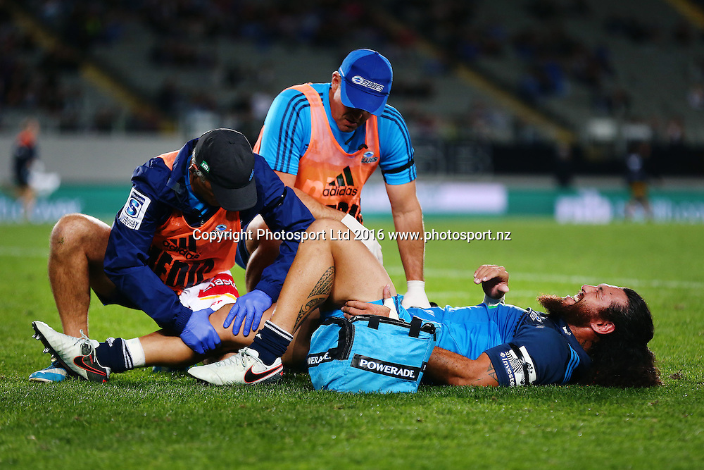 Rene Ranger of the Blues picks up an injury in the first half. Super Rugby match, Blues v Sharks at Eden Park, Auckland, New Zealand. 16 April 2016. Photo: Anthony Au-Yeung / www.photosport.nz