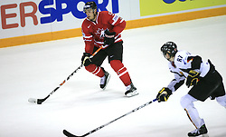 Ryan Getzlaf of Canada and Philip Gogulla of Germany at ice-hockey game Canada vs Germany in Qualifying Round Group F, at IIHF WC 2008 in Halifax,  on May 10, 2008 in Metro Center, Halifax, Nova Scotia,Canada. Canada won 11:1. (Photo by Vid Ponikvar / Sportal Images)