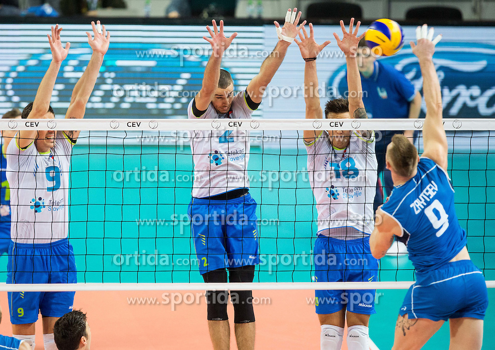 Dejan Vincic #9 of Slovenia, Alen Pajenk #2 of Slovenia, Klemen Cebulj #18 of Slovenia vs Ivan Zaytsev of Italy during volleyball match between National teams of Slovenia and Italy in 1st Semifinal of 2015 CEV Volleyball European Championship - Men, on October 17, 2015 in Arena Armeec, Sofia, Bulgaria. Photo by Vid Ponikvar / Sportida