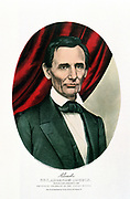 Abraham Lincoln (1809-1865) 16th president of the USA from 1860. From print by Currier and Ives, New York.