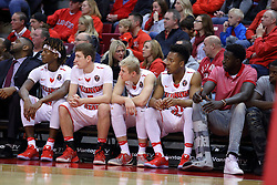"""03 December 2016:  Andre Washington(15), Matt Hein(5), Isaac Gassman(0), Javaka Thompson(31) and Daouda """"David"""" Ndiaye (4) during an NCAA  mens basketball game between the New Mexico Lobos the Illinois State Redbirds in a non-conference game at Redbird Arena, Normal IL"""