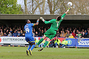 Ade Azeez forward for AFC Wimbledon (14) sees his shot lob Alex Cisak goalkeeper for Leyton Oriet (1) during the Sky Bet League 2 match between AFC Wimbledon and Leyton Orient at the Cherry Red Records Stadium, Kingston, England on 23 April 2016. Photo by Stuart Butcher.