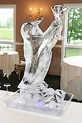 Wedding reception ice sculpture shaped like a penguin for a cocktail hour at Traditions at the Links, Erie Village, East Syracuse, NY