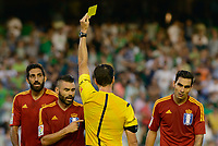the referee Pedro Sureda shows one of the many yellow cards during the match between Real Betis and Recreativo de Huelva day 10 of the spanish Adelante League 2014-2015 014-2015 played at the Benito Villamarin stadium of Seville. (PHOTO: CARLOS BOUZA / BOUZA PRESS / ALTER PHOTOS)