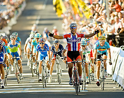 (Geelong, Australia---3 October 2010) Thor Hushovd of Norway celebrates his victory in the Elite Men's Road Race at the 2010 UCI World Championships [2010 Copyright Sean Burges / Mundo Sport Images -- www.mundosportimages.com]