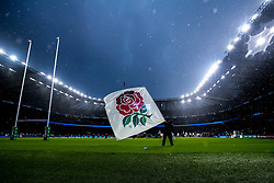An England flag barer waves a flag in the rain - Mandatory by-line: Robbie Stephenson/JMP - 10/11/2018 - RUGBY - Twickenham Stadium - London, England - England v New Zealand - Quilter Internationals