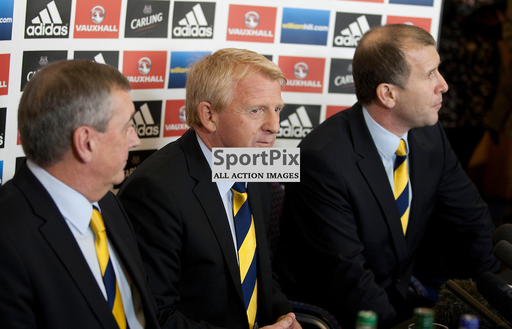 Gordon Strachan takes on the Scotland National Football Team Manager Job. l-r Campbell Ogilvie (President of the Scottish Football Association), Gordon Strachan (National Team Manager), Stewart Regan (Chief Executive of the Scottish Football Association)  15 January 2013 (C) Russell Sneddon | Stockpix.eu