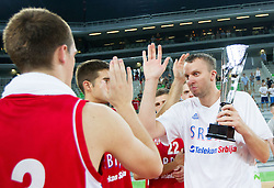 Dusko Savanovic of Serbia with a Trophy after the basketball match between National teams of Slovenia and Serbia in day 3 of Adecco cup, on August 5, 2012 in Arena Stozice, Ljubljana, Slovenia. (Photo by Vid Ponikvar / Sportida.com)