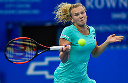 SHENZHEN, Jan. 5, 2018  Katerina Siniakova of the Czech Republic hits a return to Maria Sharapova of Russia during the semi-final match at the WTA Shenzhen Open tennis tournament in Shenzhen, China, Jan. 5, 2018. Katerina Siniakova won 2-1. (Credit Image: © Mao Siqian/Xinhua via ZUMA Wire)