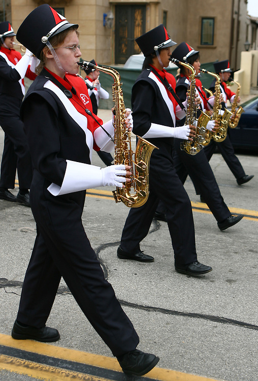 Elizabeth Dorssom plays the Alto Sax during the Redondo Beach Memorial Day Parade