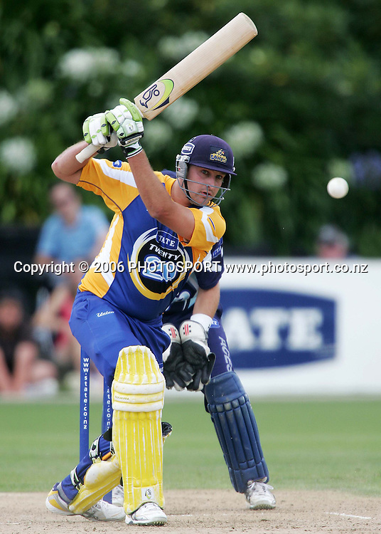 Otago Volts batsman Greg Todd plays a straight drive during the State Twenty20 cricket final between the State Auckland Aces and the State Otago Volts held at the Eden Park Outer Oval in Auckland, New Zealand on Sunday, 4 February, 2007. The Auckland Aces won the match by 60 runs. Photo: Tim Hales/PHOTOSPORT