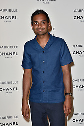 "Aziz Ansari attending the party for the new Chanel perfume ""Gabrielle"", at the Palais de Tokyo in Paris, France, on July 4, 2017. Photo by Alban Wyters/ABACAPRESS.COM"