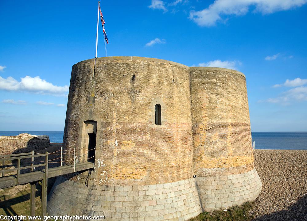 Quatrefoil Napoleonic war martello tower at Slaughden, Aldeburgh, Suffolk, England