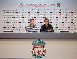 LIVERPOOL, ENGLAND - Sunday, June 18, 2017: Marcus Willis and Barry Cowan in the press room on a visit Anfield during Day Four of the Liverpool Hope University International Tennis Tournament 2017. (Pic by David Rawcliffe/Propaganda)