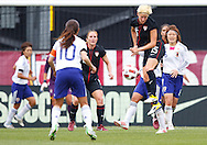 14 MAY 2011: USA Women's National Team midfielder Megan Rapinoe (15) heads the ball during the International Friendly soccer match between Japan WNT vs USA WNT at Crew Stadium in Columbus, Ohio.