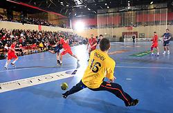 Jure Natek vs goalkeeper of Bulgaria Encho Enchev at handball match of 5th Round of qualifications for EHF Euro 2010 in Austria between National team of Slovenia vs Bulgaria, on November 30, 2008 in Velenje, Slovenia. (Photo by Vid Ponikvar / Sportida)