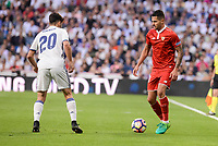 """Real Madrid's Marco Asensio and Sevilla FC Victor """"Vitolo"""" Machin during La Liga match between Real Madrid and Sevilla FC at Santiago Bernabeu Stadium in Madrid, May 14, 2017. Spain.<br /> (ALTERPHOTOS/BorjaB.Hojas)"""