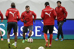 04.03.2014, AFG Arena, St. Gallen, SUI, Training der Schweizer Nationalmannschaft, vor dem Testspiel gegen Kroatien, im Bild Xherdan Shaqiri, Admir Mehmedi (SUI) // during a practice session of swiss national football team prior to the international frindley against Croatia at the AFG Arena in St. Gallen, Switzerland on 2014/03/04. EXPA Pictures © 2014, PhotoCredit: EXPA/ Freshfocus/ Andy Mueller<br /> <br /> *****ATTENTION - for AUT, SLO, CRO, SRB, BIH, MAZ only*****