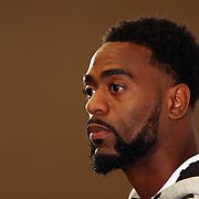 Tyson Gay, USA, talking with the media at the Adidas Grand Prix Press Conference, Hyatt Grand Central, New York ahead of he Adidas Grand Prix at Icahn Stadium, Randall's Island. Manhattan, New York. 23rd May 2012. Photo Tim Clayton