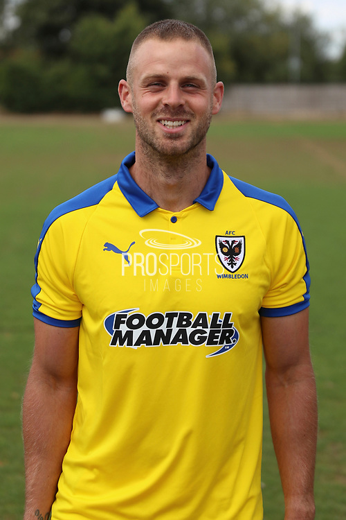 AFC Wimbledon fitness coach Jason Moriarty during the AFC Wimbledon 2018/19 official photocall at the Kings Sports Ground, New Malden, United Kingdom on 31 July 2018. Picture by Matthew Redman.
