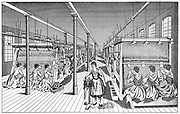 Women workers in a carpet factory.   Electric lights with incandescent bulbs hang over each loom supplement natural lighting and enable working day to be extended.  Illustration Leipzig c1895