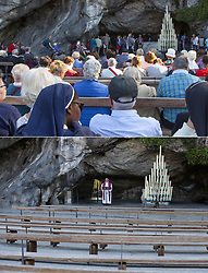 Composite images of the Grotte de Massabielle on October 10, /2017 (top) and a chaplain holds a service at the deserted Grotte de Massabielle in the Sanctuary of Our Lady of Lourdes in Lourdes, France on April 10, 2020 (bottom) as the Catholic pilgrimage site was closed to the public due on the twenty-fourth day of a strict lockdown across France to attempt to halt the spread of COVID-19, caused by the novel coronavirus. Lourdes is about to experience an unprecedented week of Easter, without faithful. Photo by GodardANDBZ/Thibaud Moritz/JMP/ABACAPRESS.COM