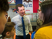 25 NOVEMBER 2019 - CRESTON, IOWA: Mayor PETE BUTTIGIEG talks to people on the rope line during a campaign event in Creston, IA. Buttigieg, the mayor of South Bend, Indiana, is campaigning to the Democratic nominee for the US presidency. Iowa traditionally hosts the the first selection event of the presidential election cycle. The Iowa Caucuses will be on Feb. 3, 2020.                PHOTO BY JACK KURTZ