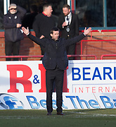 24th February 2018, Dens Park, Dundee, Scotland; Scottish Premier League football, Dundee versus Motherwell; Dundee manager Neil McCann