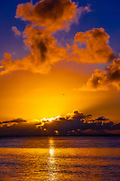 Sunset, Hilton Moorea Lagoon Resort, island of Moorea, French Polynesia.