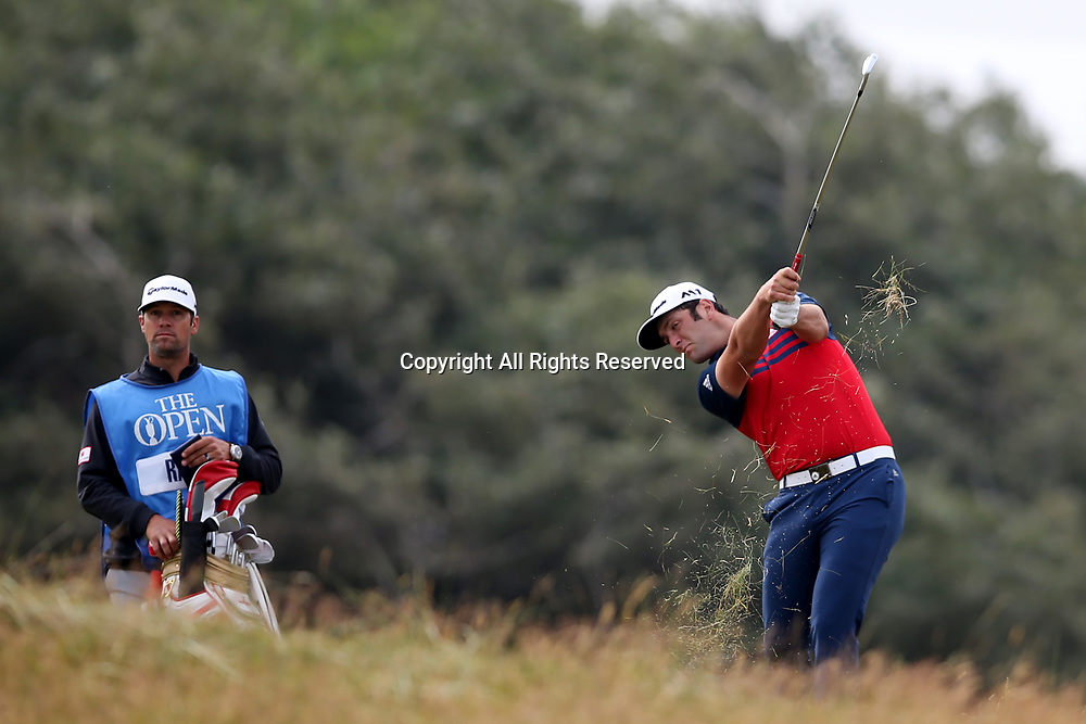 July 19th 2017, Royal Birkdale Golf Club, Southport, England; The 146th Open Golf Championship, Final Practice Day; Jon Rahm (ESP) plays a recovery shot from the left rough in the first hole
