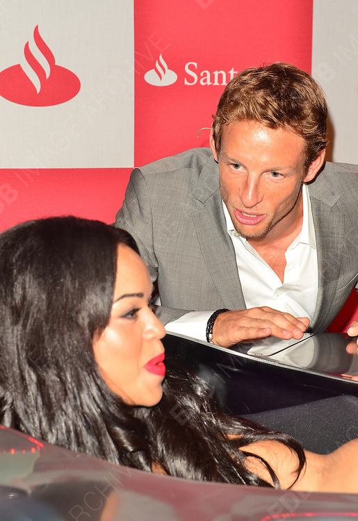 28.JUNE.2012 LONDON<br /> <br /> JENSEN BUTTON AND SARAH-JANE CRAWFORD AT THE LONDON GRAND PRIX VIP EVENT AT THE ROYAL AUTOMOBILE CLUB IN MYFAIR.<br /> <br /> BYLINE: EDBIMAGEARCHIVE.COM<br /> <br /> *THIS IMAGE IS STRICTLY FOR UK NEWSPAPERS AND MAGAZINES ONLY*<br /> *FOR WORLD WIDE SALES AND WEB USE PLEASE CONTACT EDBIMAGEARCHIVE - 0208 954 5968*