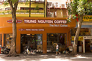A popular cafe chain, Trung Nguyen Coffee in the affluent downtown of District 1, central Saigon.