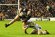 WP Nell is tackled by Alex Dunbar  during the Guinness Pro 14 2017_18 match between Edinburgh Rugby and Glasgow Warriors at Myreside Stadium, Edinburgh, Scotland on 28 April 2018. Picture by Kevin Murray.