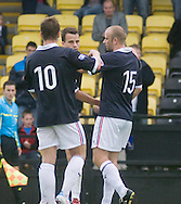Graham Bayne (15) is congratulated on his last minute clincher - Dundee v Southend United - East Fife Tournament at New Bayview<br /> <br /> &copy; David Young<br /> <br /> <br /> http://www.davidyoungphoto.co.uk