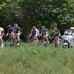 WIELRENNEN Rijssen, de 62e ronde van Overijssel werd op zaterdag 3 mei verreden. Groep met o.a. Maarten van Trijp (Rabo), Thomas Stewart (Madison),, Maurits Lammertink (Piels), Brian vna Goethem (Metec)
