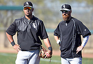 GLENDALE, AZ - FEBRUARY 25:  Jose Abreu #79 and Andy LaRoche #25 of Chicago White Sox look on during spring training workouts on February 25, 2015 at The Ballpark at Camelback Ranch in Glendale, Arizona. (Photo by Ron Vesely)   Subject:   Jose Abreu; Adam LaRoche