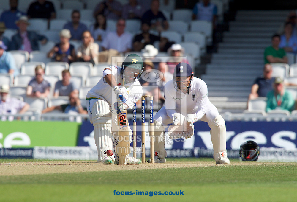 Sami Aslam of Pakistan batting watched by Wicketkeeper Jonny Bairstow of England during Day Four of the fourth Investec Test Match at the Kia Oval, London<br /> Picture by Alan Stanford/Focus Images Ltd +44 7915 056117<br /> 14/08/2016