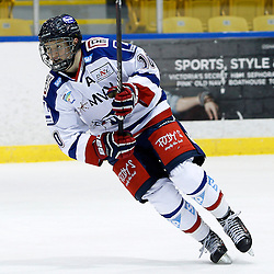 WHITBY, ON - Nov 27 : Ontario Junior Hockey League International Exhibition, between the Whitby Fury and the visiting Adler Mannheim from Germany. Tobias Kircher #10 of Team Germany during first period game action.<br /> (Photo by Tim Bates / OJHL Images)