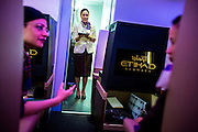ABU DHABI, UAE - FEBRUARY 8, 2015: Cabin crews are learning the skills at the Etihad training academy. The flying staff hails from over 115 different countries.