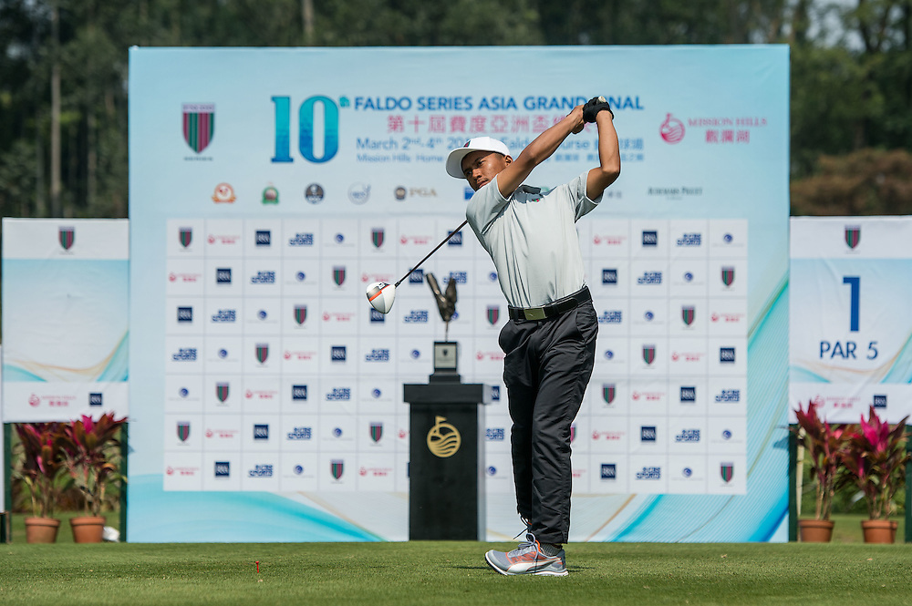 M. Seandy Alfarabu of Indonesia in action during day one of the 10th Faldo Series Asia Grand Final at Faldo course in Shenzhen, China. Photo by Xaume Olleros.
